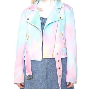 FINAL SALE Sugar Pills Tye Dye Pastel Moto Jacket